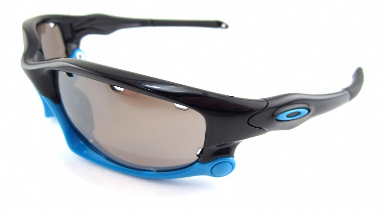 black and blue oakley sunglasses d1xw  oakley fast jacket sunglasses silver blue iridium and jade